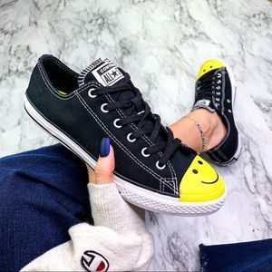 Converse Chuck All Star Black Smiley Face Sneaker